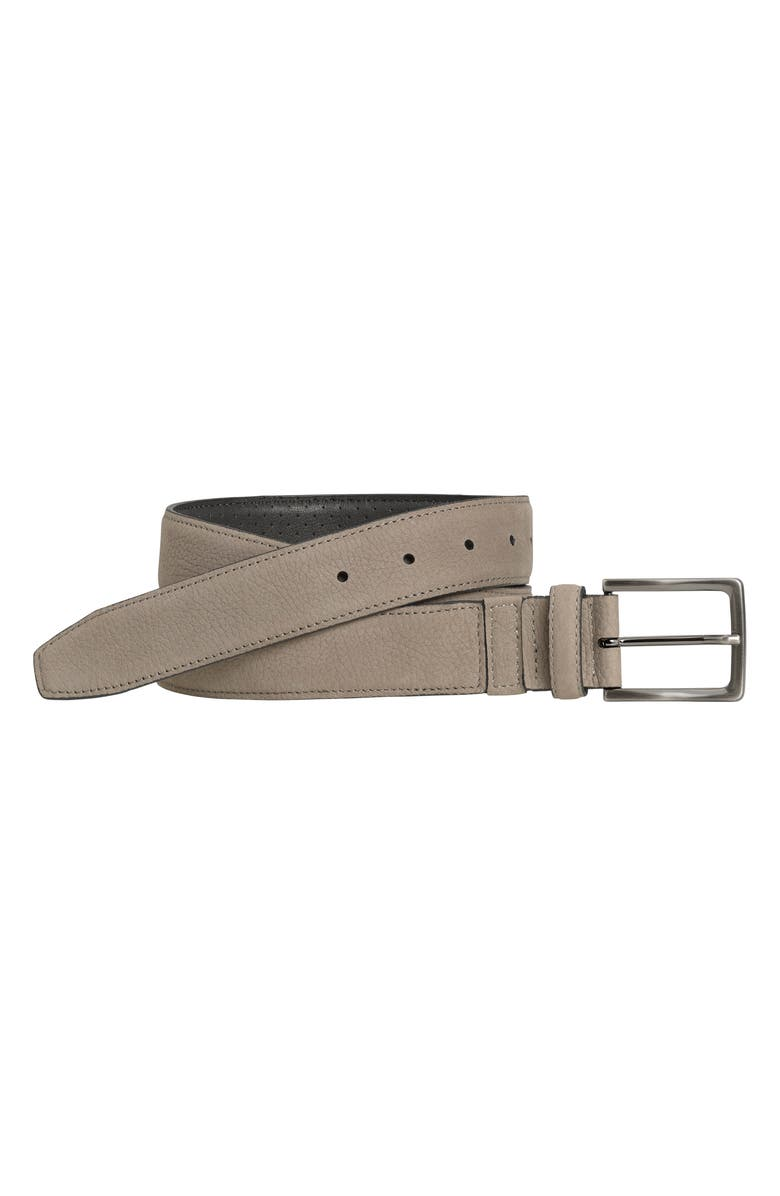 JOHNSTON & MURPHY XC4 Leather Dress Belt, Main, color, GRAY LEATHER