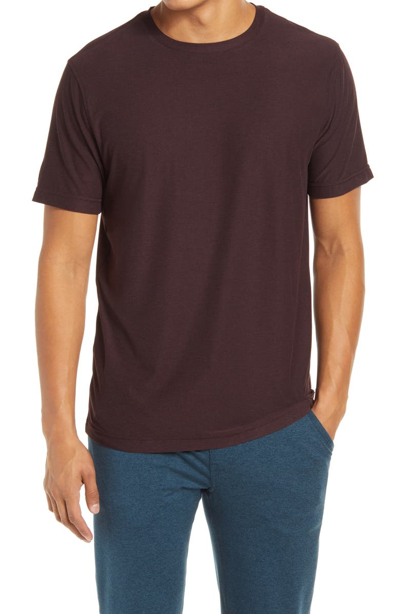 VUORI Strato Slim Fit Crewneck Tech T-Shirt, Main, color, OXBLOOD HEATHER