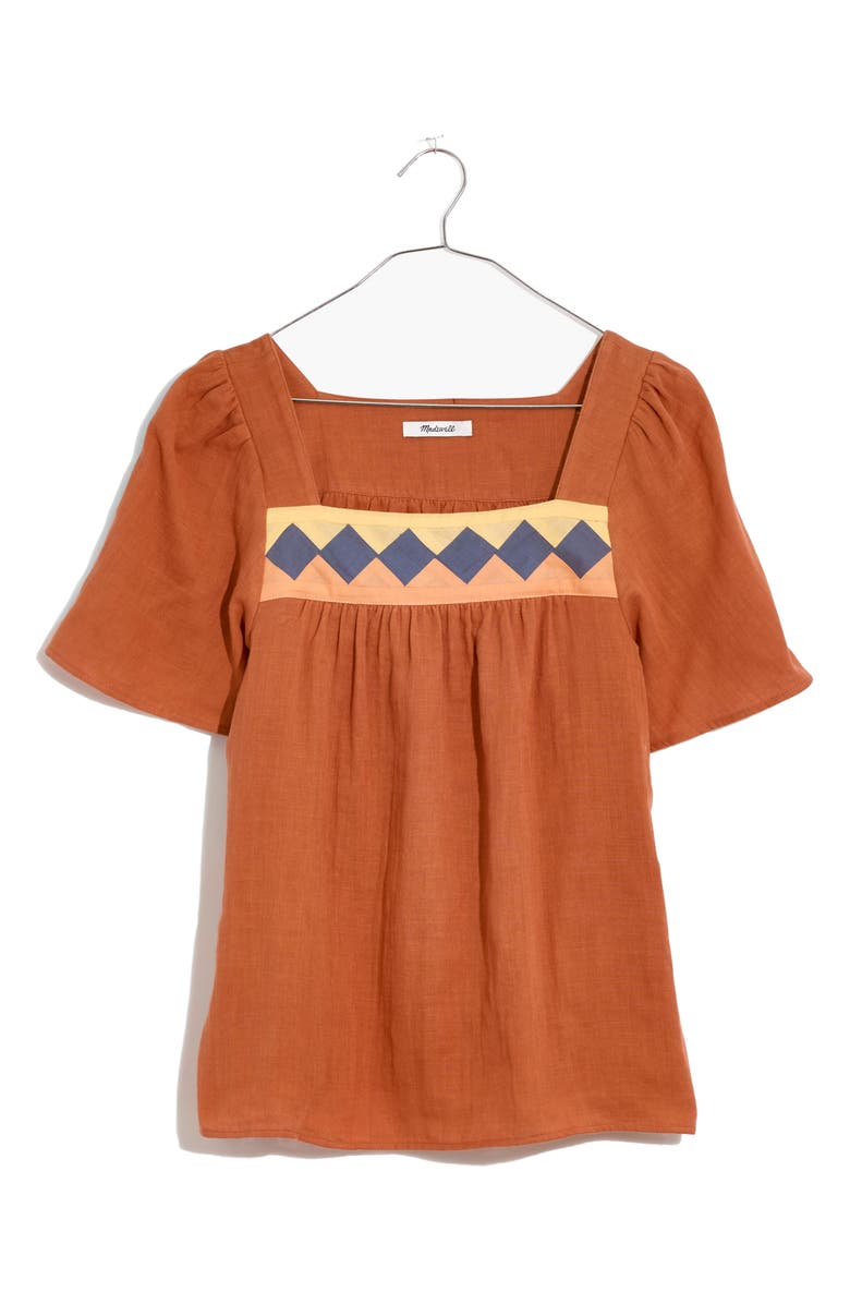MADEWELL Women's Patchwork Square Neck Top, Main, color, BURNT CLAY