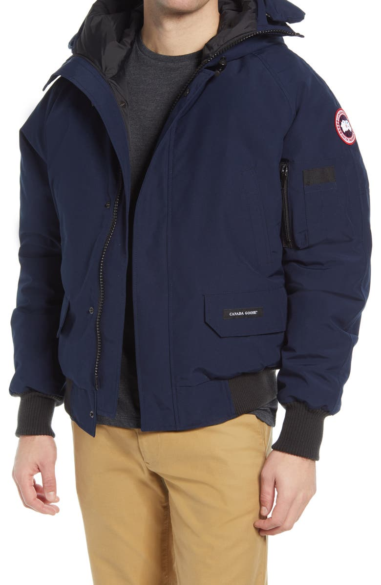 CANADA GOOSE Chilliwack 625 Fill Power Down Hooded Bomber Jacket, Main, color, ATLANTIC NAVY