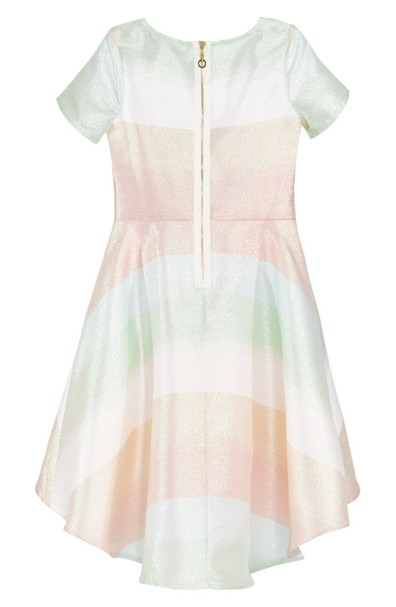 TRULY ME Hi Low Fit & Flare Dress, Main, color, PINK/MUL