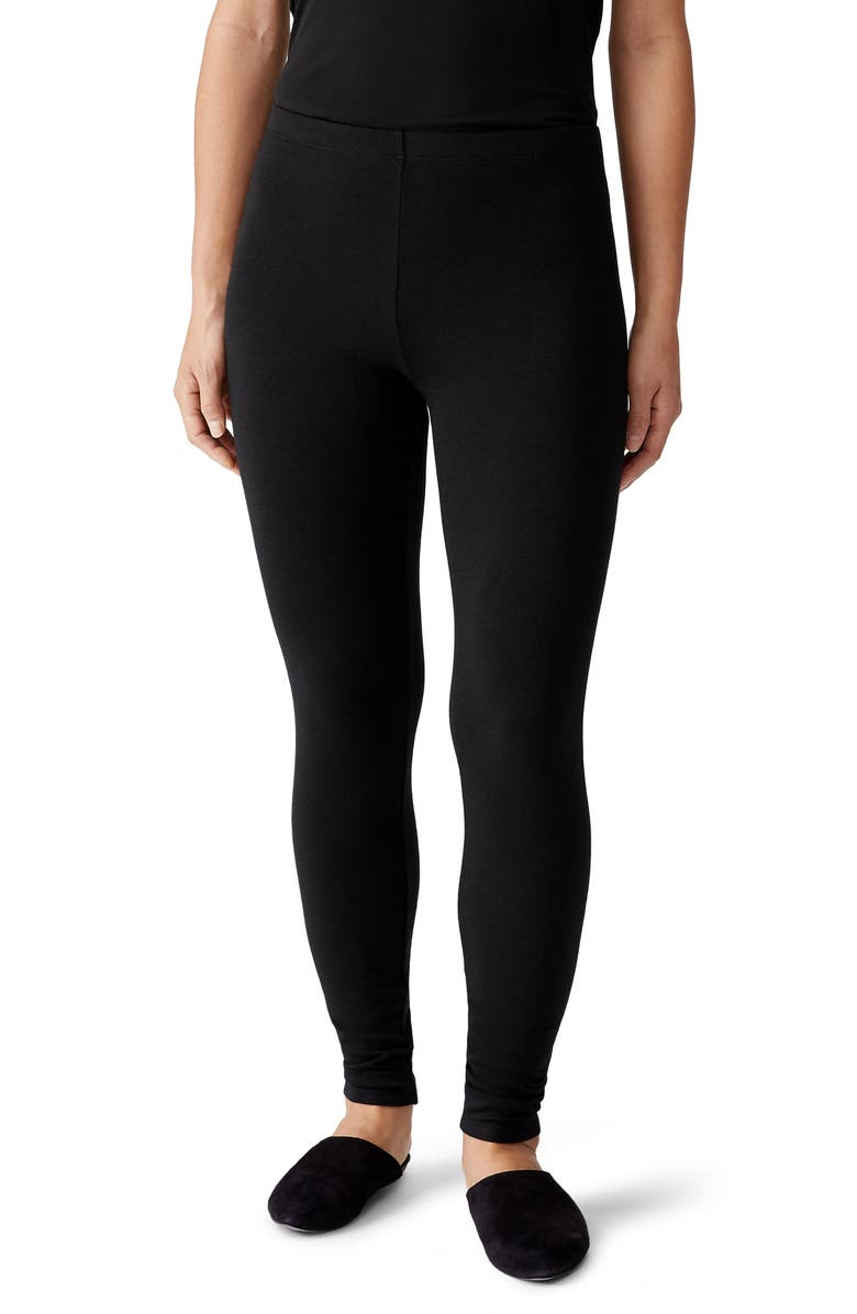 EILEEN FISHER Ankle Leggings, Main, color, BLACK