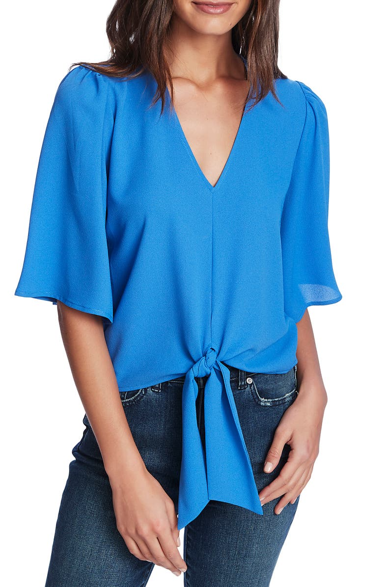 1.STATE Tie Front Blouse, Main, color, HARBOR WAVES