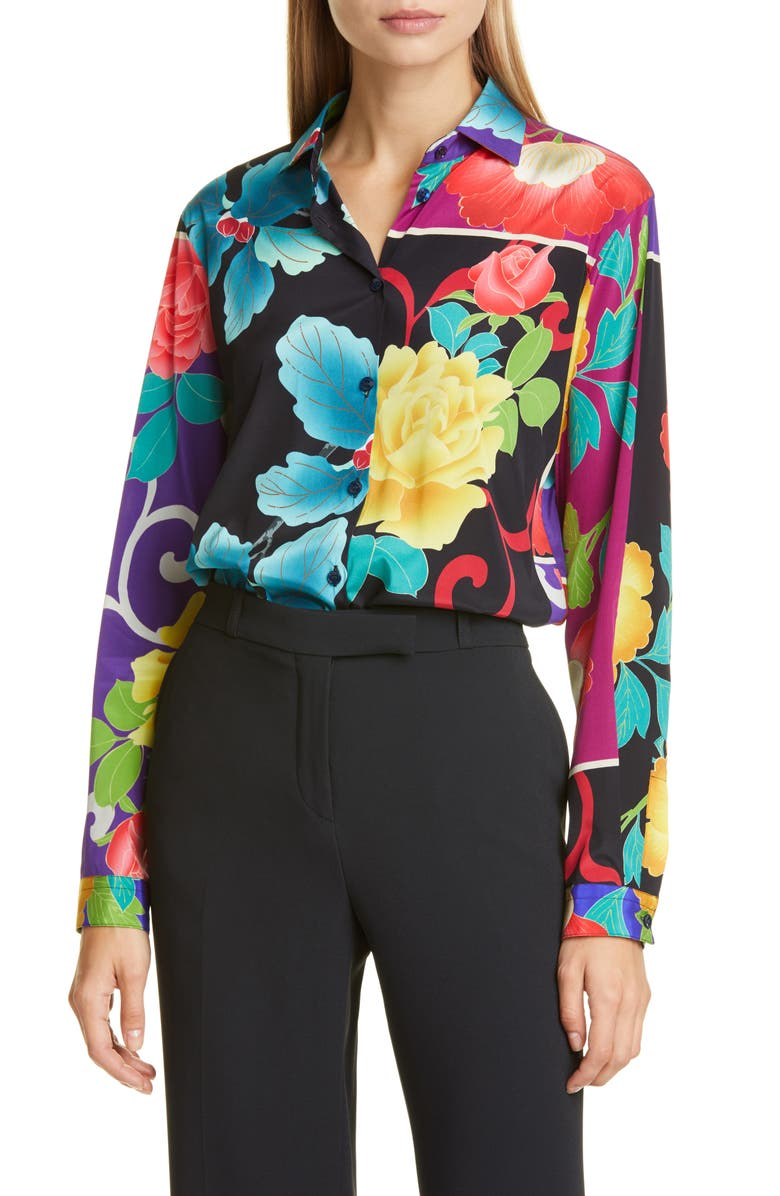ETRO Floral Patchwork Print Stretch Silk Blouse, Main, color, 001