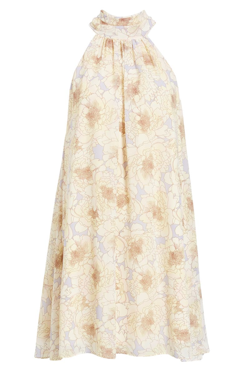 BADGLEY MISCHKA COLLECTION Floral Print Trapeze Dress, Main, color, LILAC MULTI