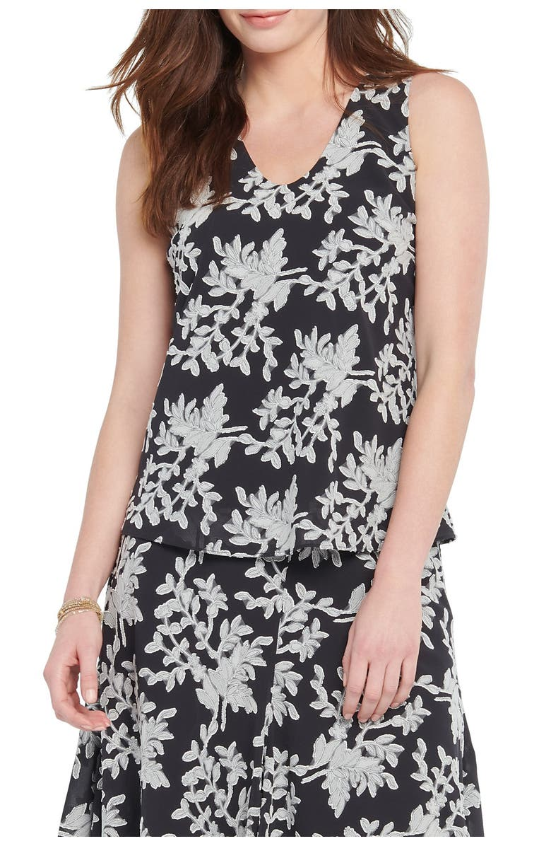 NIC+ZOE Aster Floral Print Tank Top, Main, color, 001