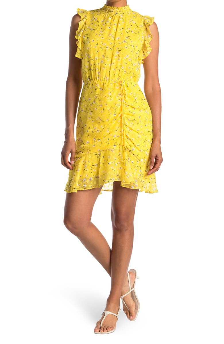 SAM EDELMAN High Neck Ruched Dress, Main, color, YELLOW MULTI