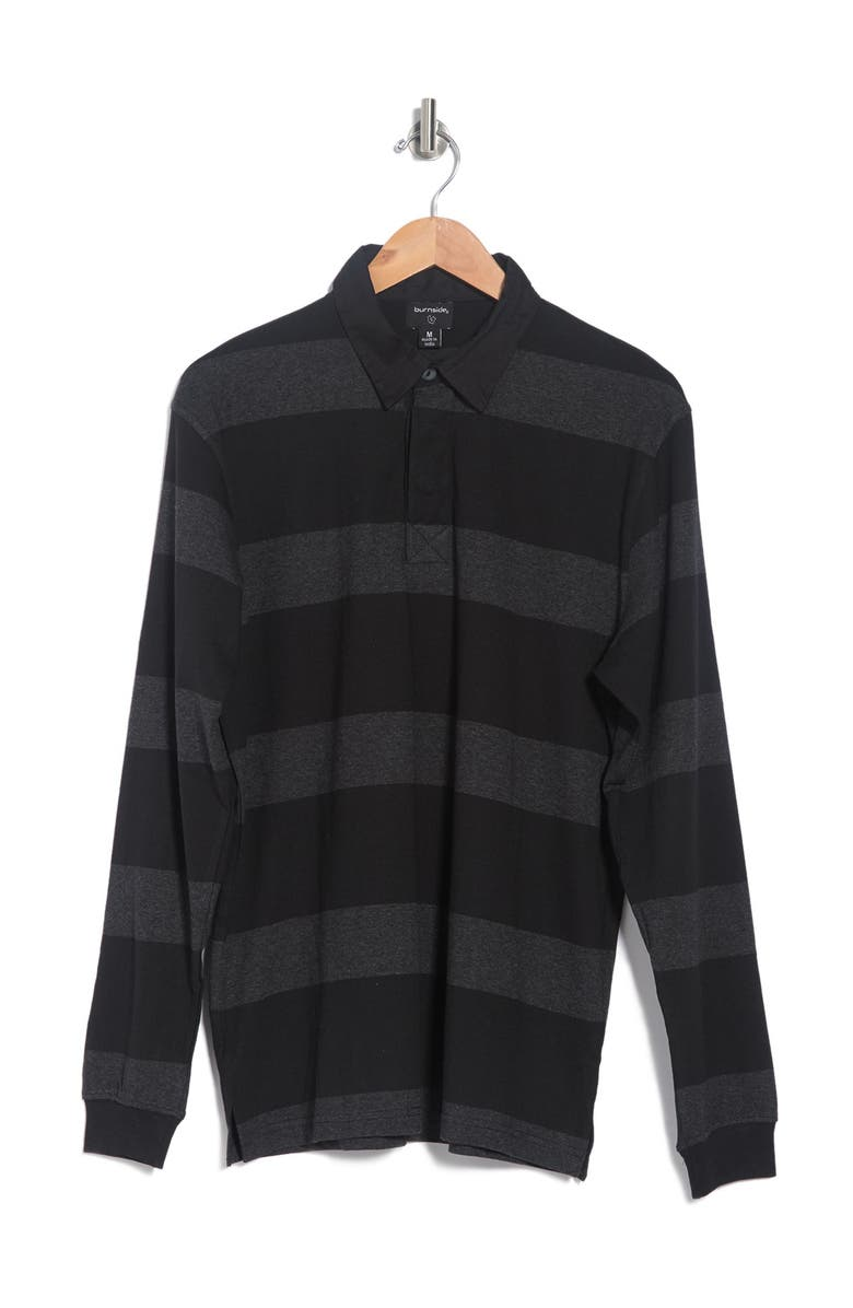 BURNSIDE Stripe Rugby Polo, Main, color, CHARCOAL
