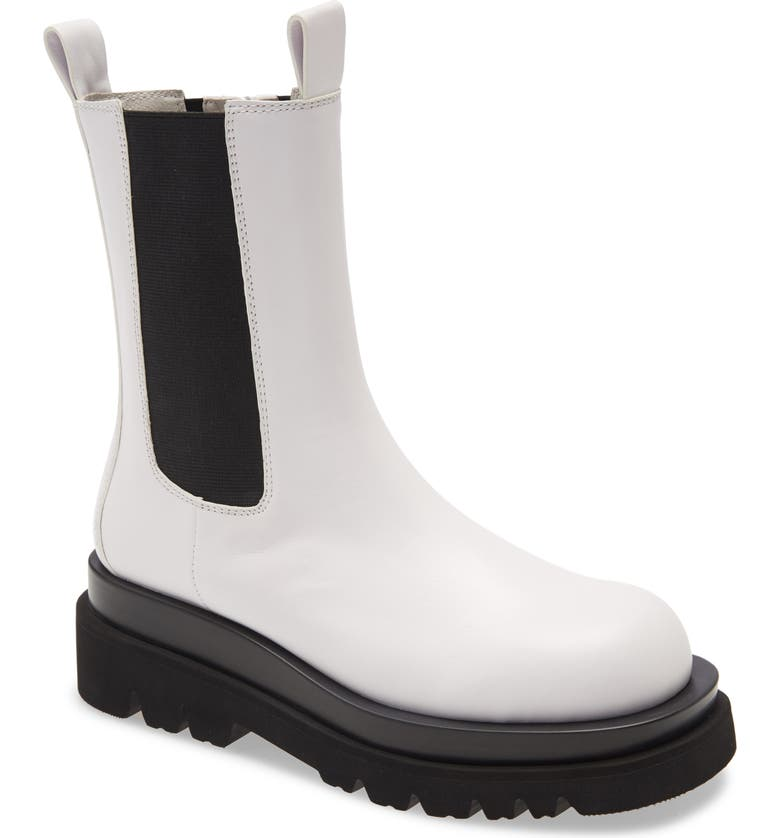 JEFFREY CAMPBELL Tanked Chelsea Boot, Main, color, WHITE LEATHER