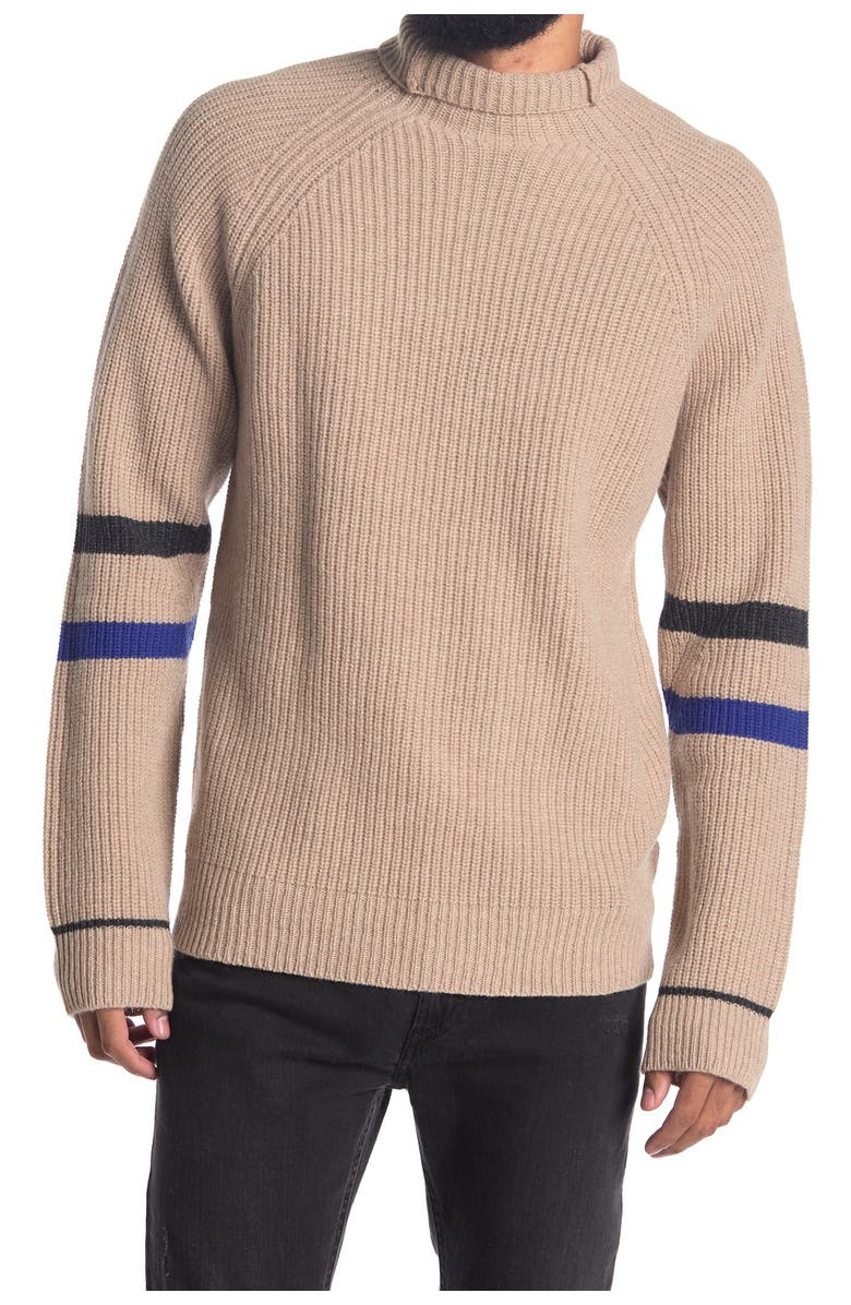 ZADIG AND VOLTAIRE Noe Funnel Neck Wool Blend Sweater, Main, color, LIGHT TAUPE