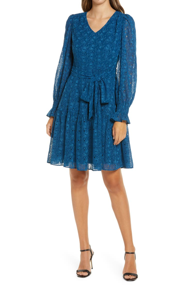 RACHEL PARCELL Embroidered Eyelet Long Sleeve Dress, Main, color, BLUE POSEIDON