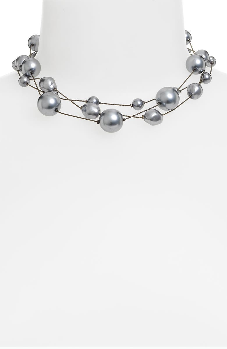 DABBY REID Three Strand Pearl Necklace, Main, color, BLACK PEARL