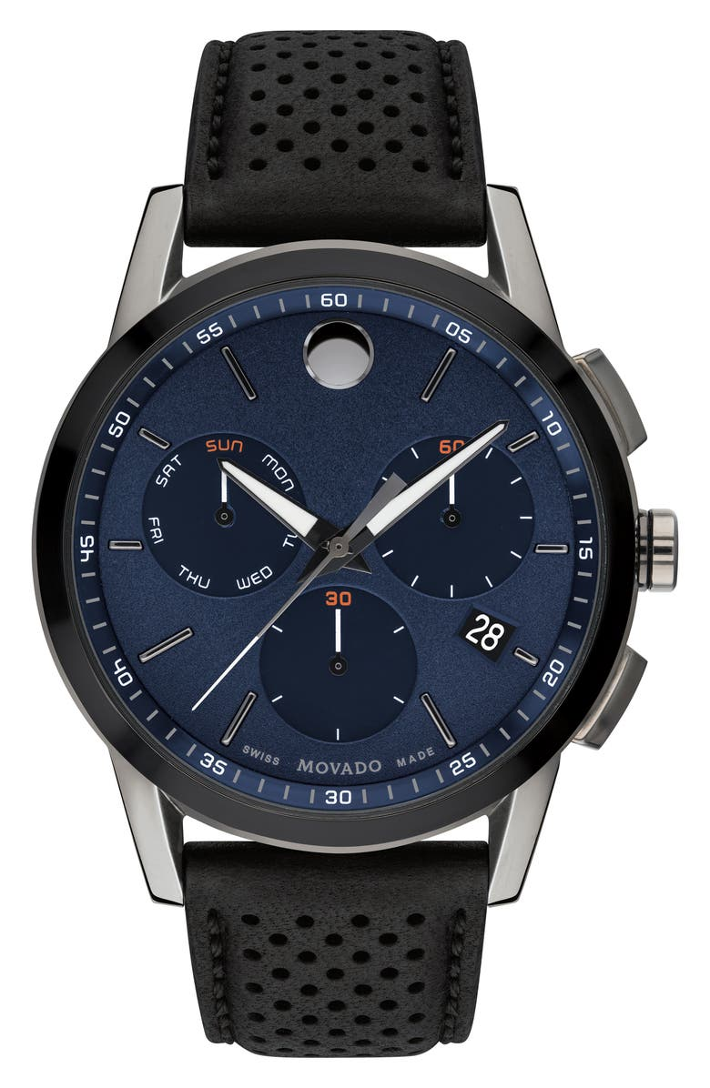 MOVADO Museum Chronograph Leather Strap Watch, 43mm, Main, color, 001
