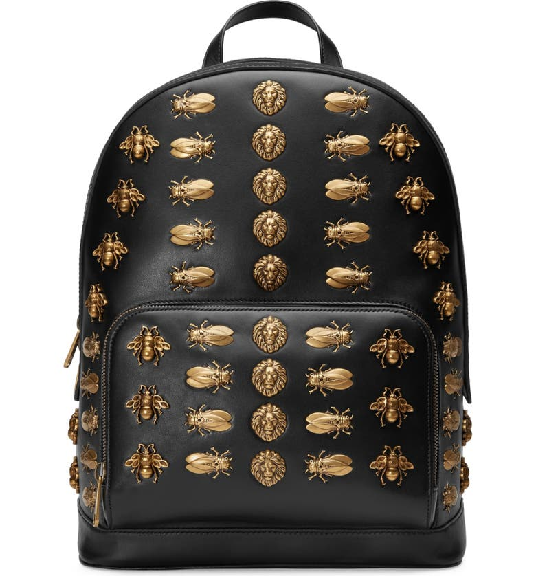 GUCCI Animal Studs Leather Backpack, Main, color, NERO
