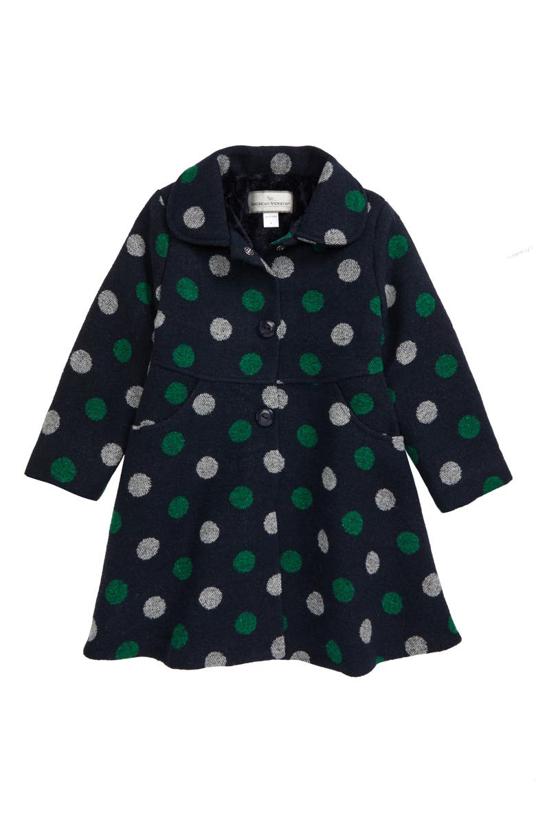 WIDGEON Polka Dot Coat with Faux Fur Lining, Main, color, 410