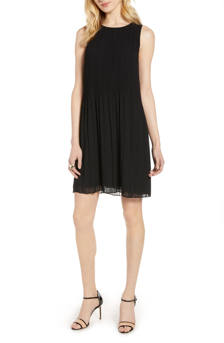 HALOGEN<SUP>®</SUP> Pleated Sleeveless Shift Dress, Main, color, 001