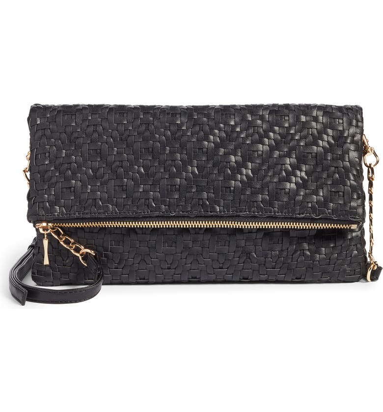 SOLE SOCIETY Lisbeth Weave Foldover Clutch, Main, color, 001