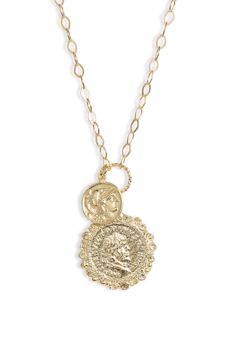 ADINA'S JEWELS Double Coin Necklace, Main, color, GOLD