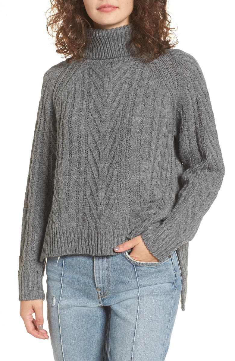 DREAMERS BY DEBUT Cable Knit Turtleneck Sweater, Main, color, CHARCOAL