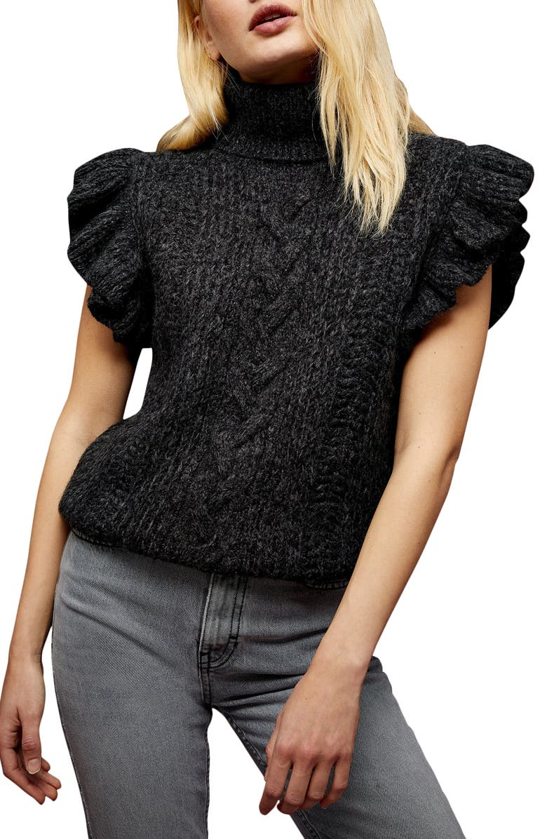 TOPSHOP Flutter Sleeve Cable Knit Turtleneck Sweater, Main, color, CHARCOAL