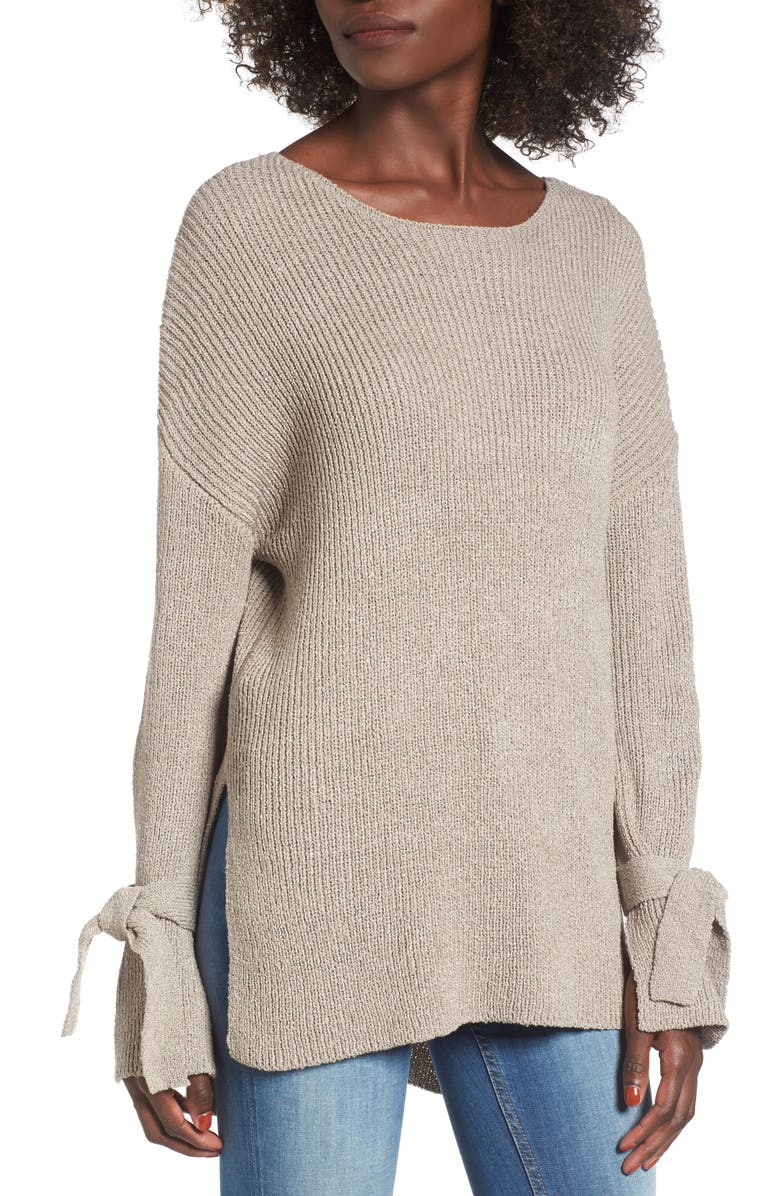 ALL IN FAVOR Tie Sleeve Sweater, Main, color, TAUPE GREY