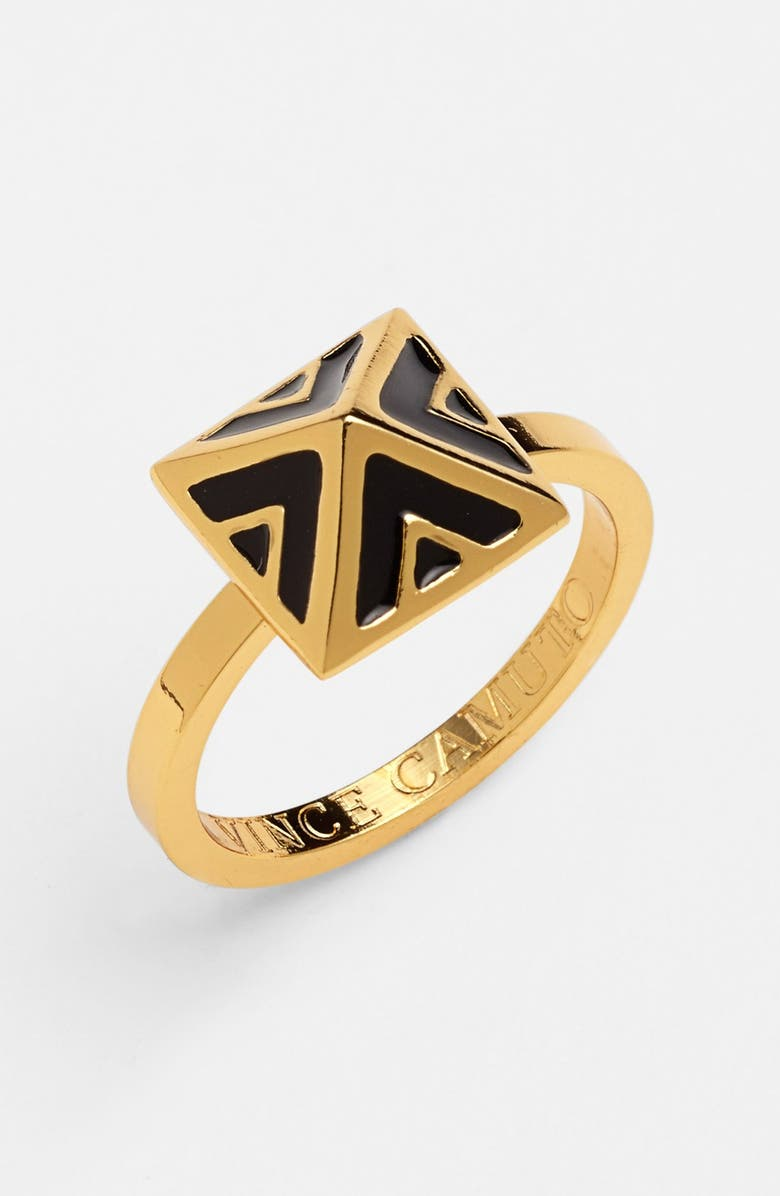 VINCE CAMUTO 'Micro Geometry' Enamel Pyramid Ring, Main, color, 001