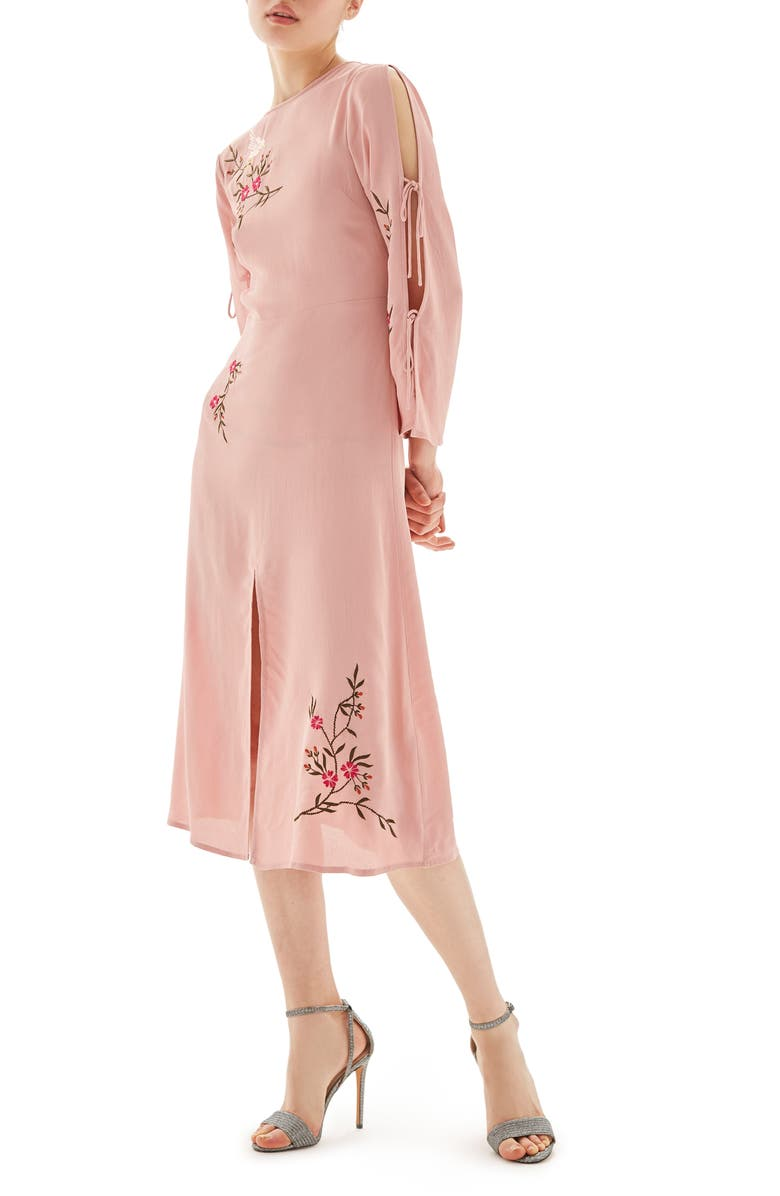 TOPSHOP Tokyo Embroidered Midi Dress, Main, color, LIGHT PINK MULTI