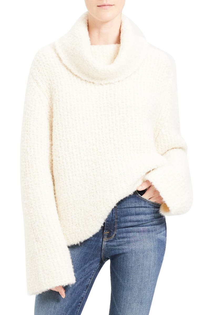 THEORY Cowl Neck Bell Sleeve Alpaca & Wool Blend Sweater, Main, color, 900