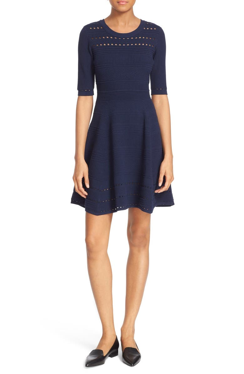 MILLY Mixed Stitch Texture Knit Fit & Flare Dress, Main, color, 410