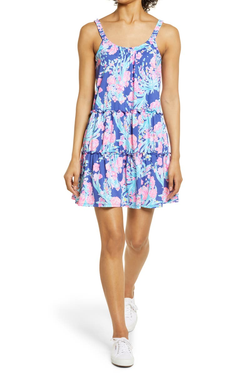 LILLY PULITZER<SUP>®</SUP> Loro Floral Knit Sundress, Main, color, CORSICA BLUE TOUCAN PARTY