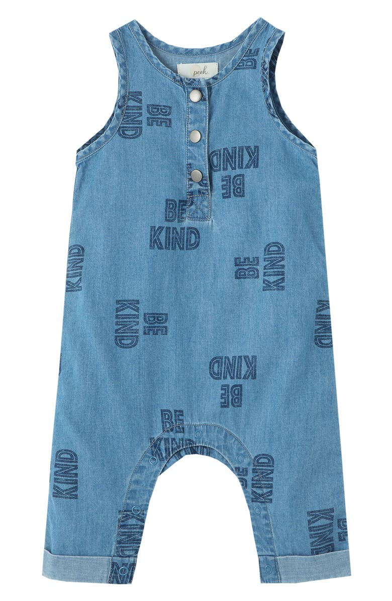 PEEK ESSENTIALS Be Kind Chambray Overalls, Main, color, BLUE PRINT