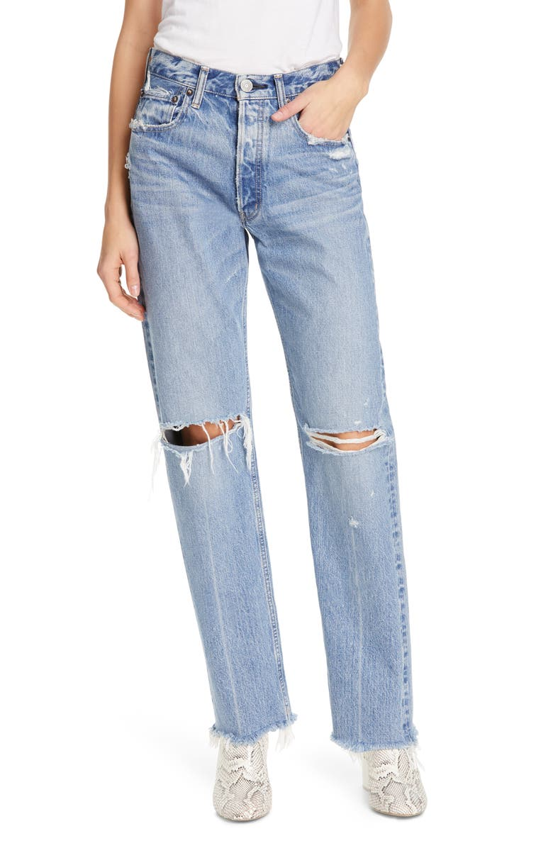 MOUSSY VINTAGE Viola Ripped Straight Leg Jeans, Main, color, 400