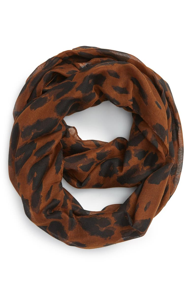 BP. Leopard Print Infinity Scarf, Main, color, 210