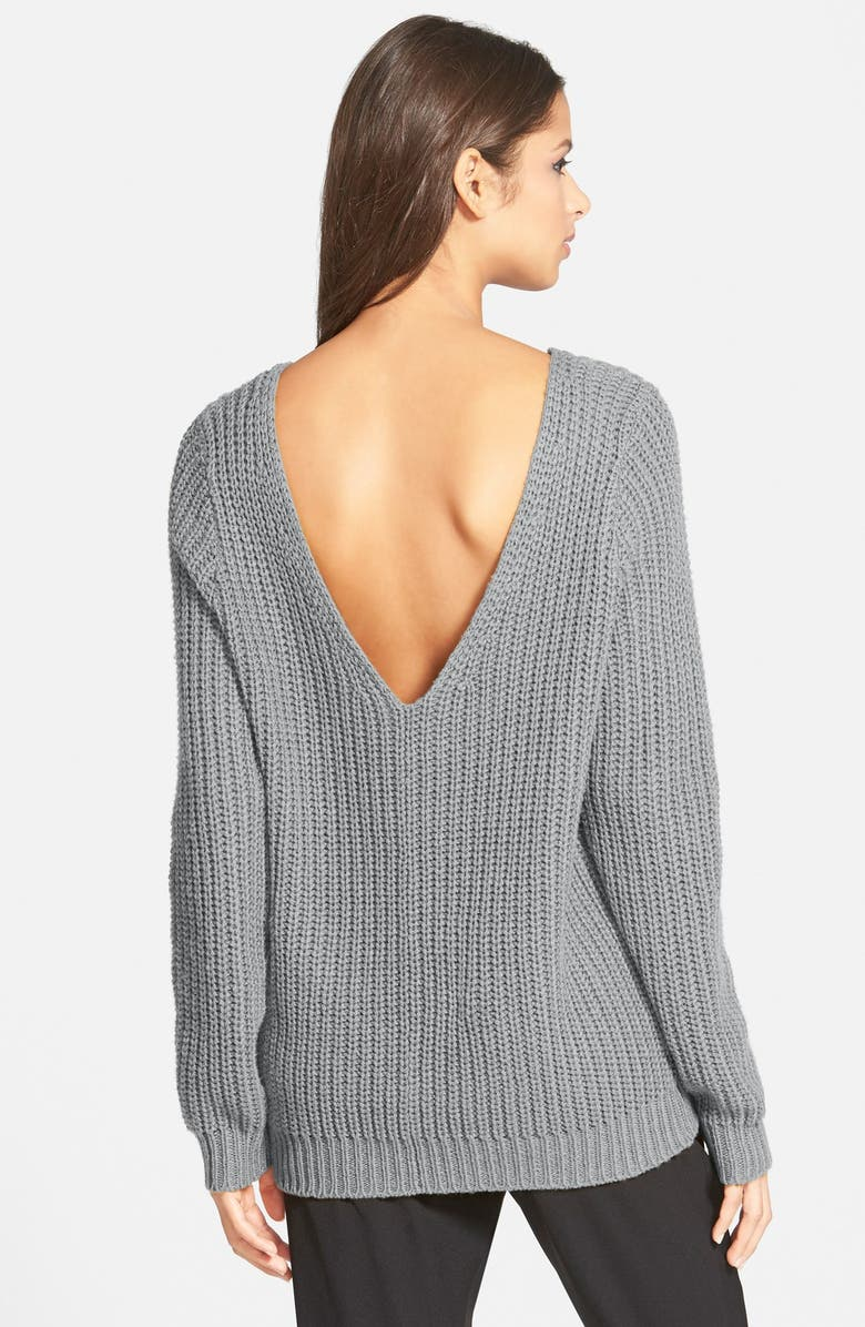 LEITH Shaker Stitch V-Back Sweater, Main, color, 030
