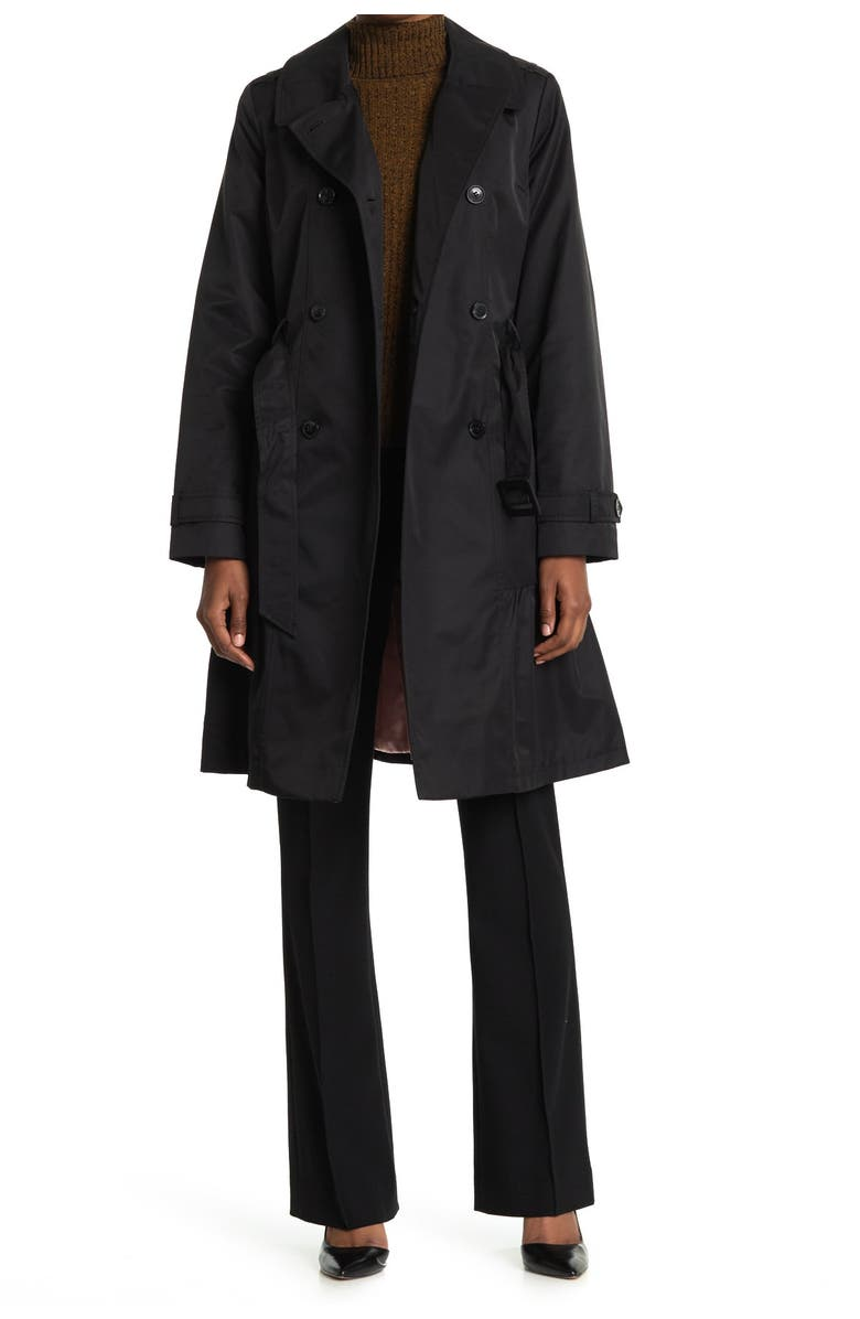 KATE SPADE NEW YORK belted trench coat, Main, color, 001