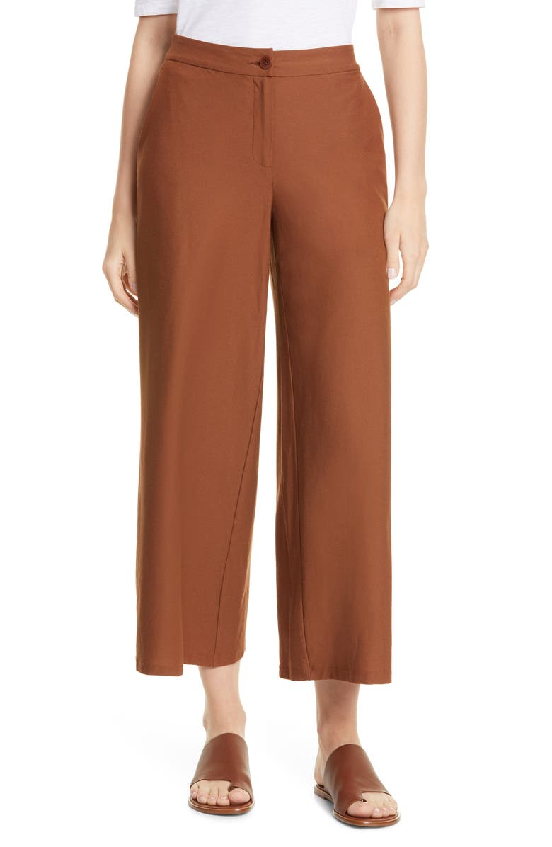 EILEEN FISHER High Waist Ankle Pants, Main, color, 200