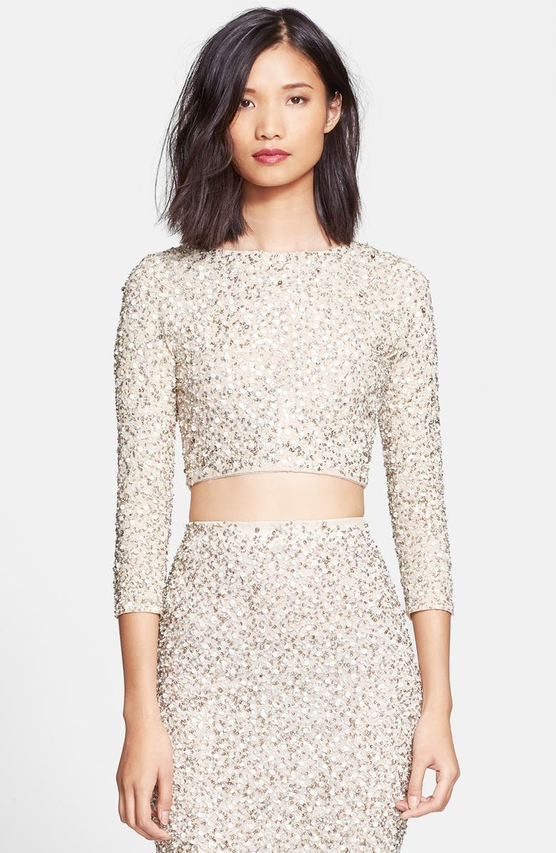 ALICE + OLIVIA 'Lacey' Embellished Crop Top, Main, color, 101