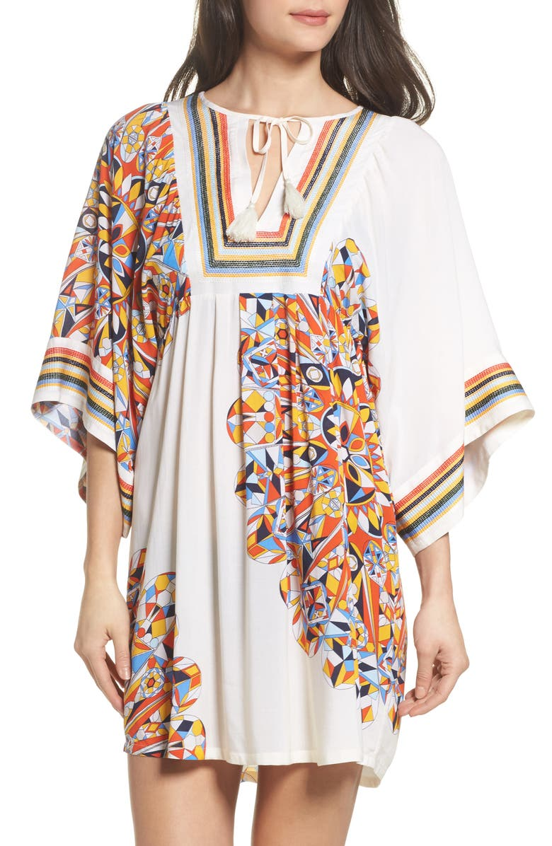 TORY BURCH Geometric Tunic Cover-Up, Main, color, 806