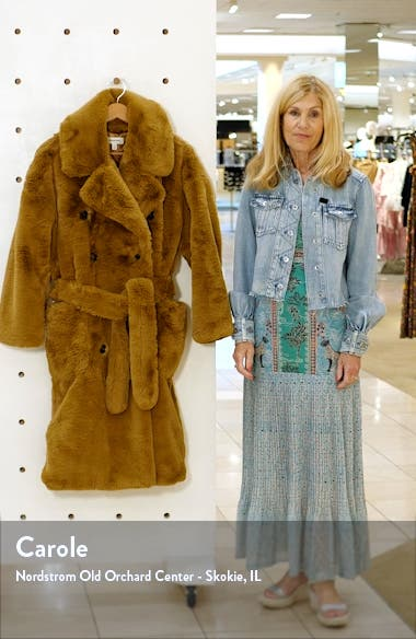 Belted Recycled Polyester Faux Fur Coat, sales video thumbnail