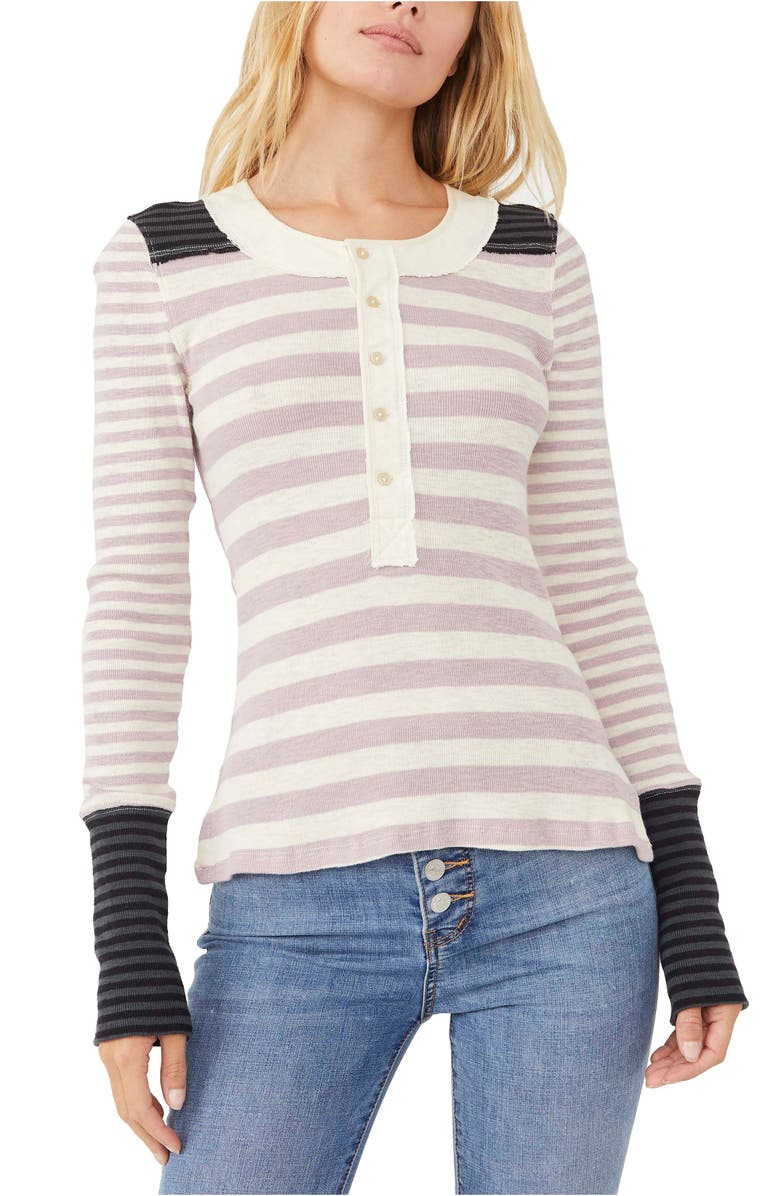 FREE PEOPLE Give Me Stripes Henley Top, Main, color, SAND COMBO