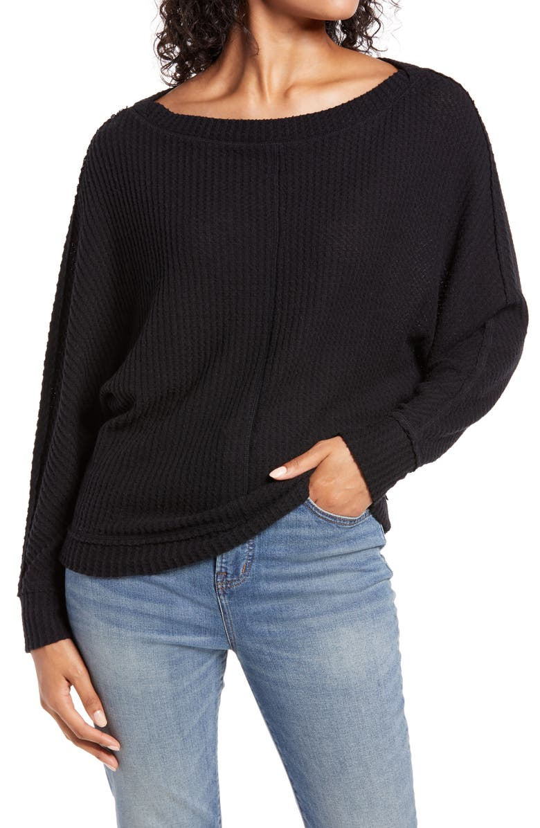 CASLON<SUP>®</SUP> Dolman Sleeve Thermal Top, Main, color, 001