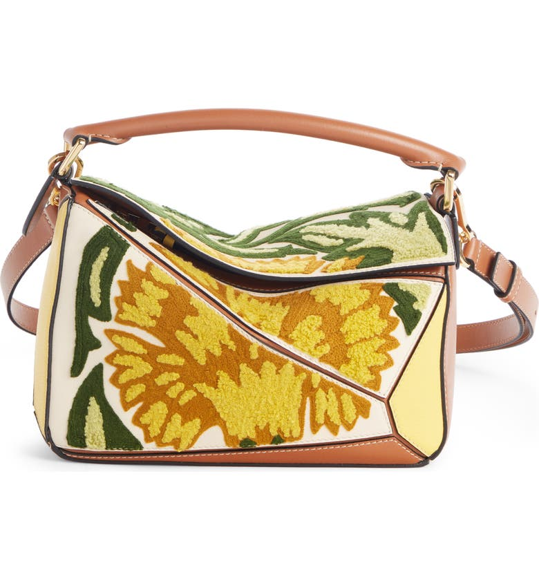 LOEWE Floral Puzzle Leather Bag, Main, color, 700