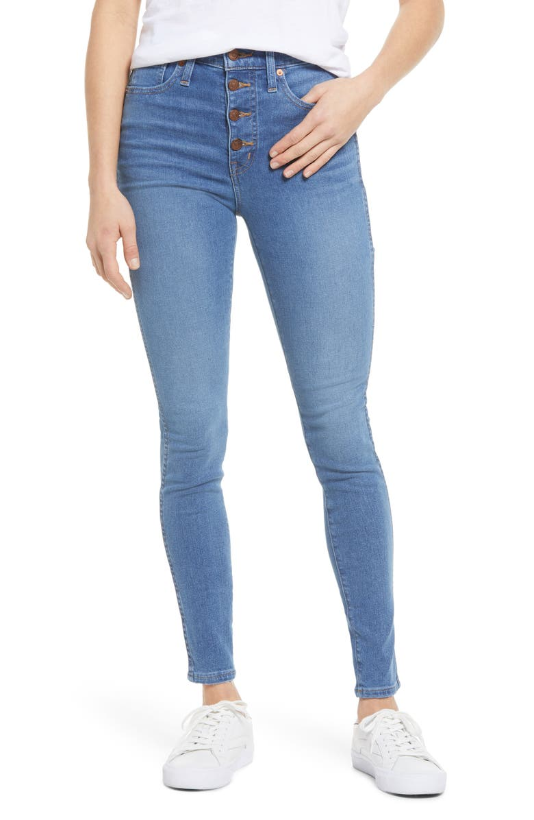 MADEWELL Button Front High Waist Skinny Jeans, Main, color, DEWITT WASH