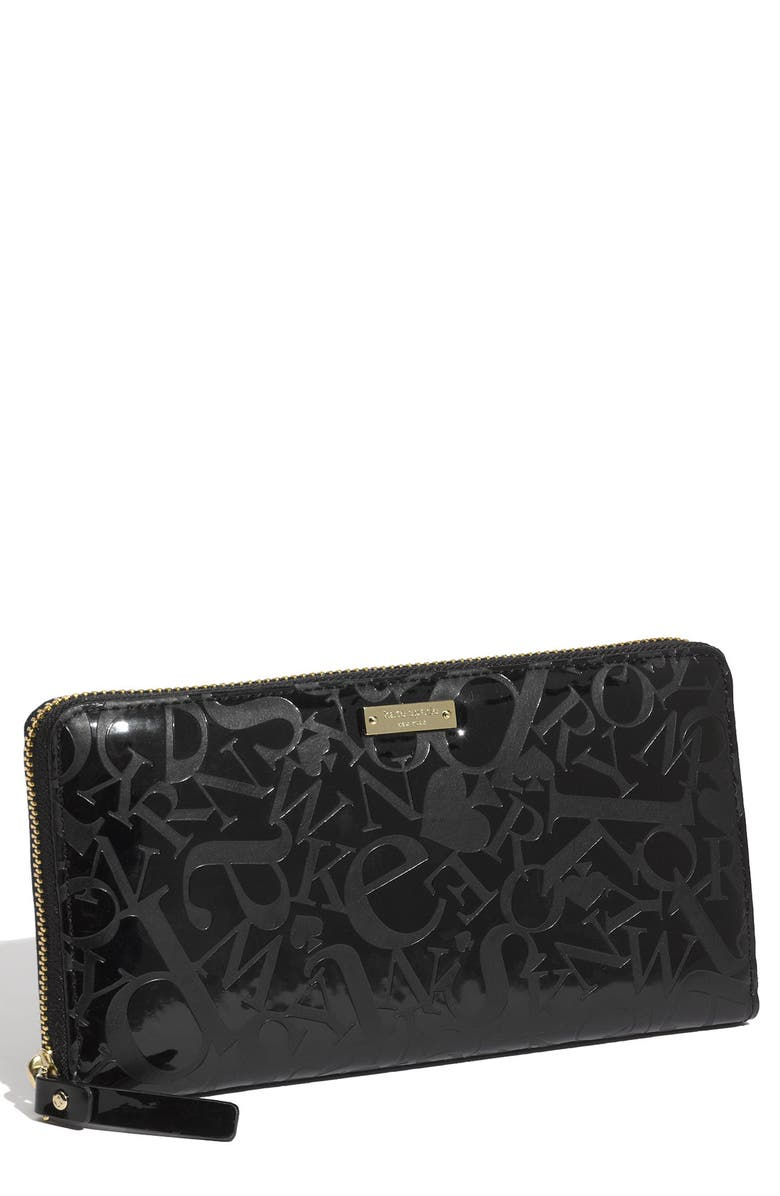 KATE SPADE NEW YORK 'shuffled spade - embossed lacey' zip around wallet, Main, color, 001