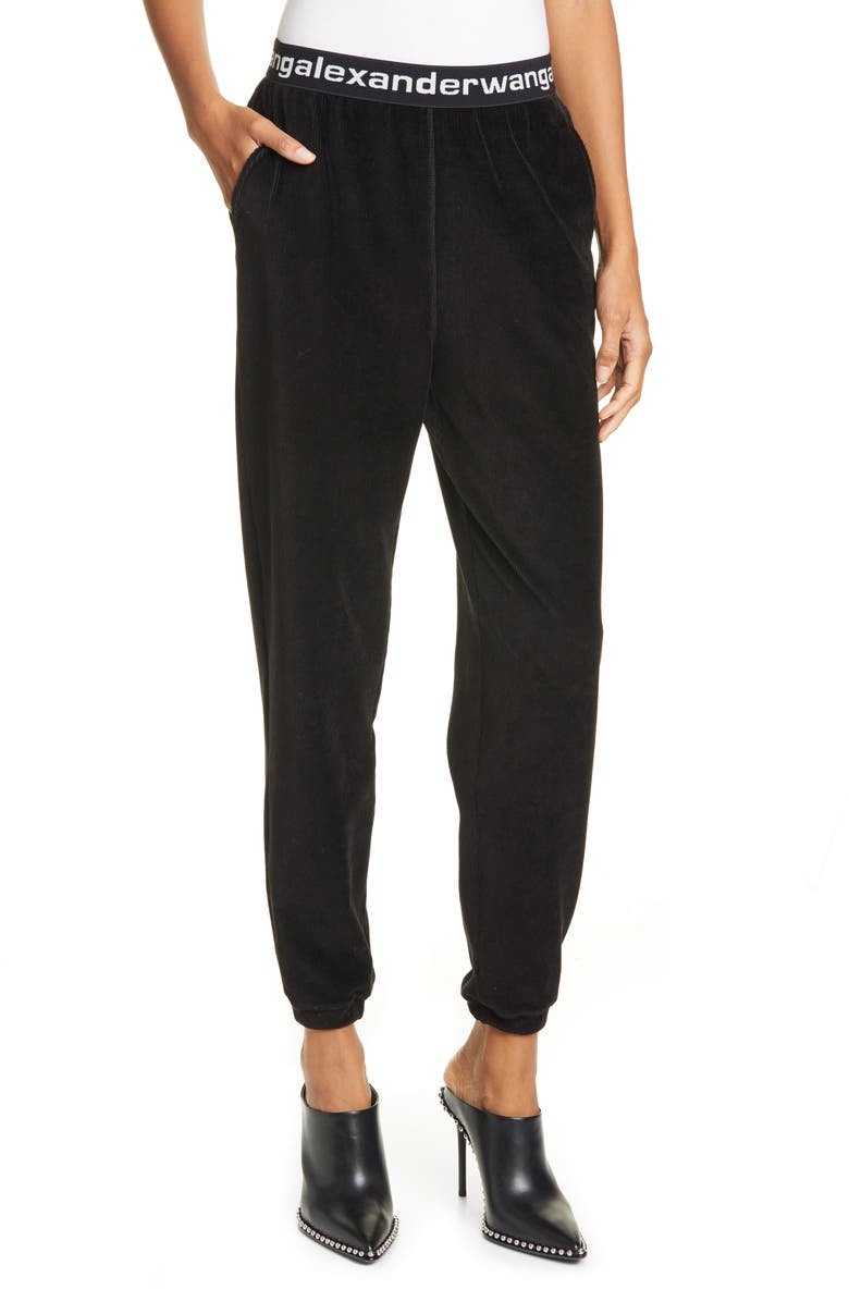 ALEXANDERWANG.T Logo Stripe Corduroy Pants, Main, color, 001