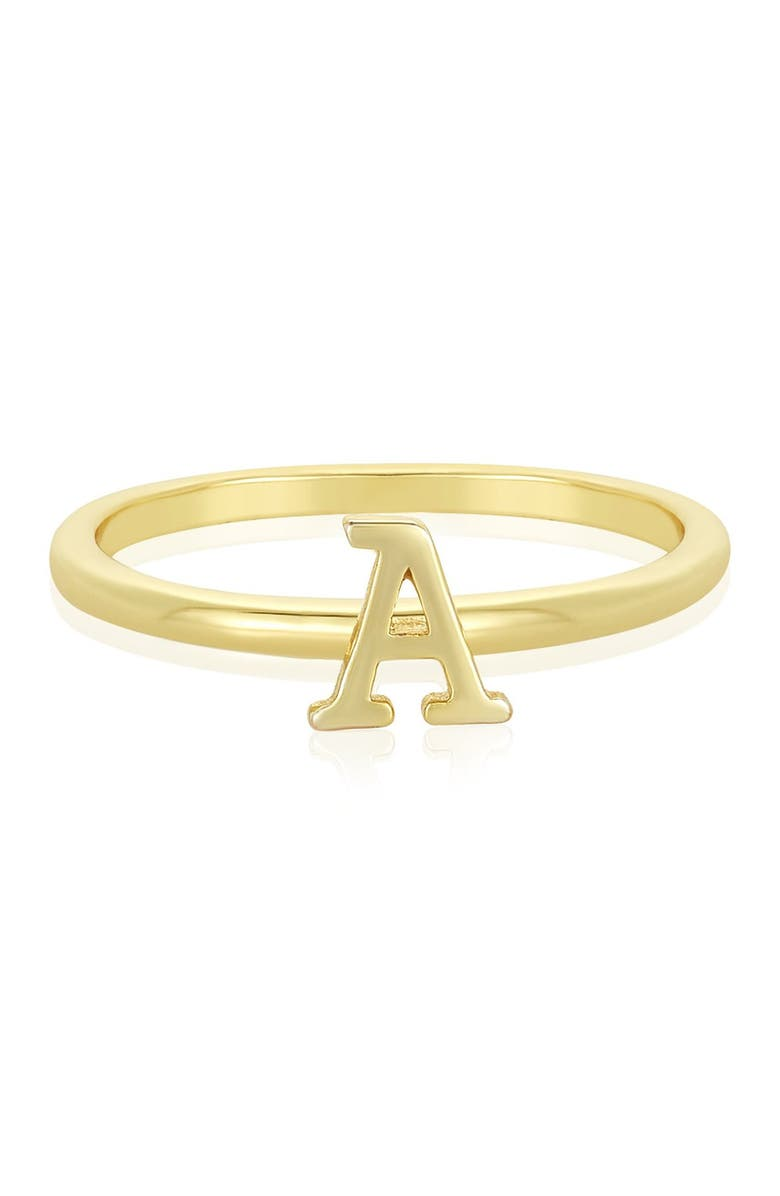 MELINDA MARIA 14K Yellow Gold Plated Block Letter Initial Ring - Multiple Letters Available, Main, color, A
