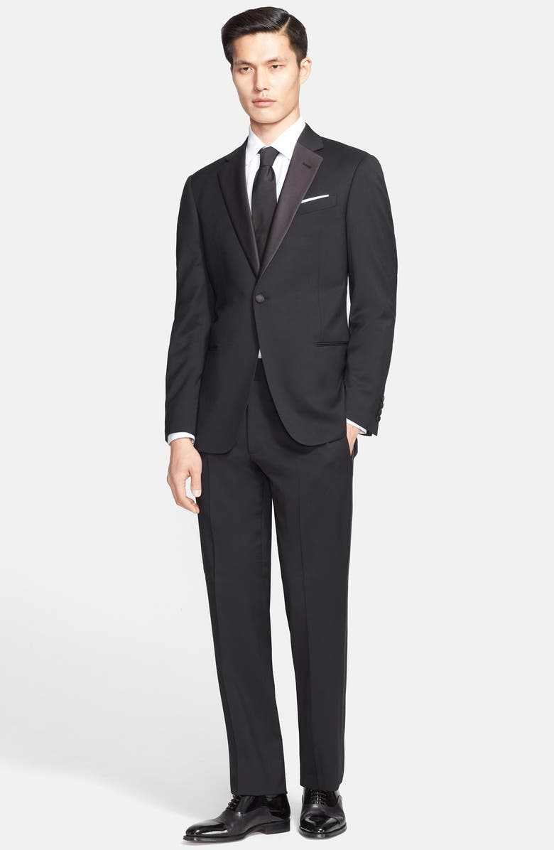 EMPORIO ARMANI Armani Collezioni 'Giorgio' Trim Fit Notch Lapel Tuxedo, Main, color, 001