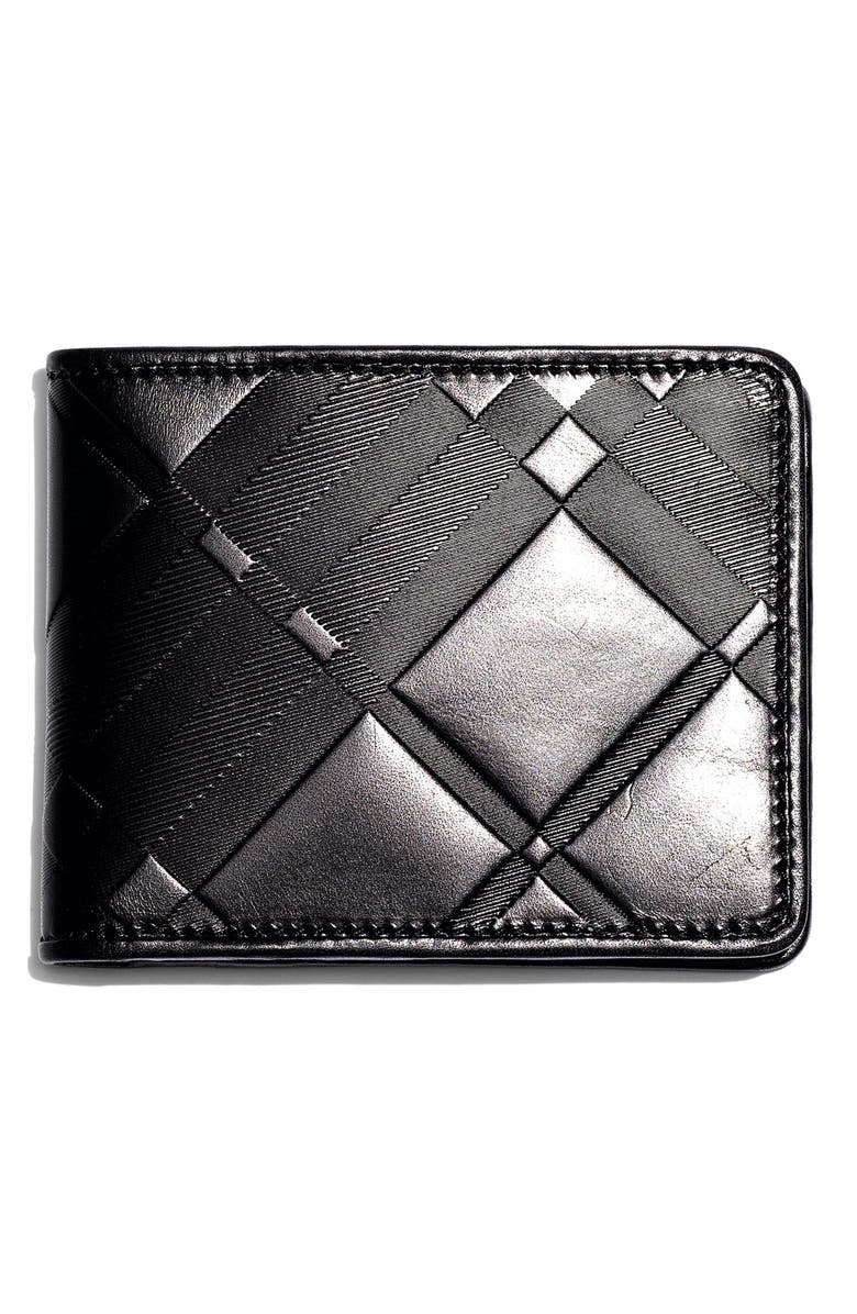 BURBERRY Embossed Leather Bifold Wallet, Main, color, BLACK EMBOSSED CHECK