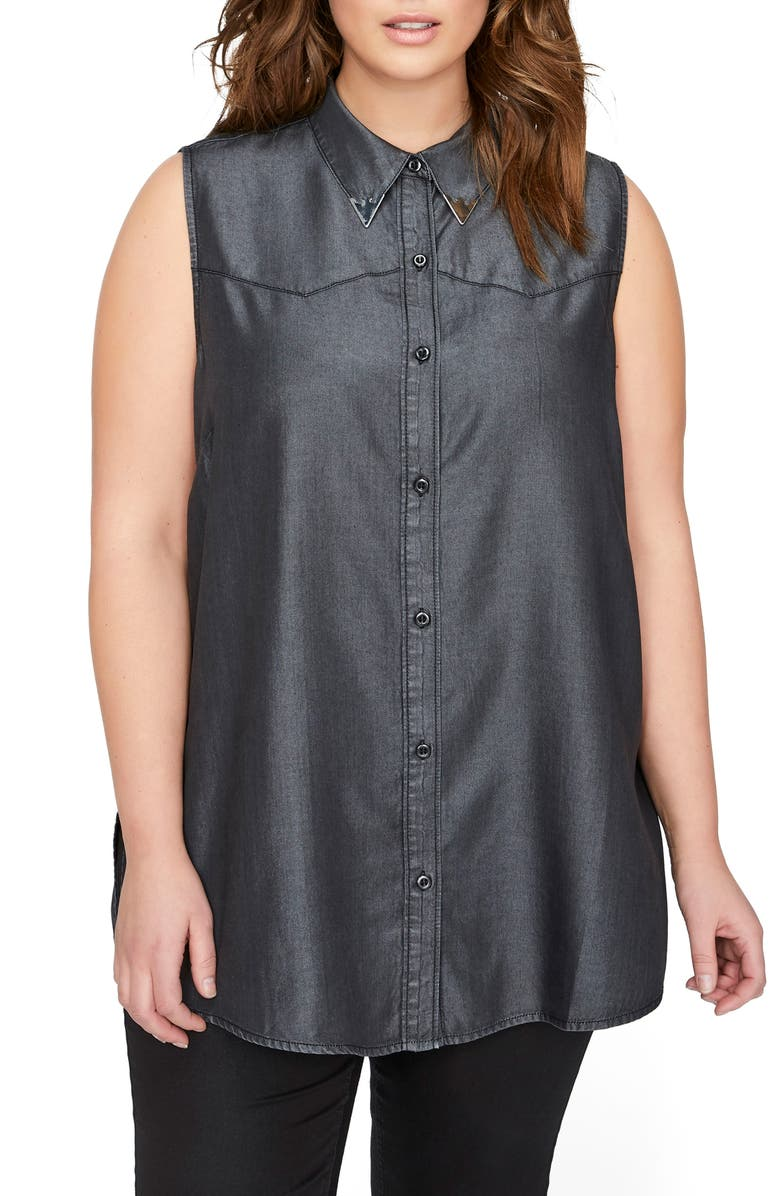 ADDITION ELLE LOVE AND LEGEND Ruffle Back Western Shirt, Main, color, 010