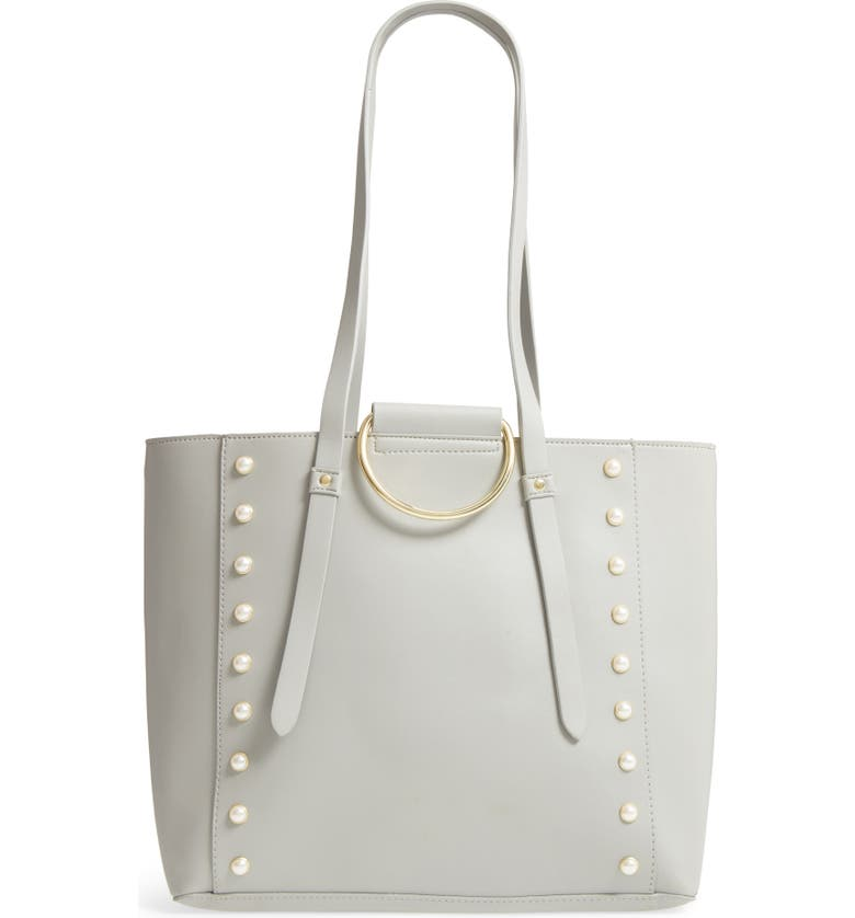 BP. Imitation Pearl Embellished Faux Leather Ring Tote, Main, color, 020